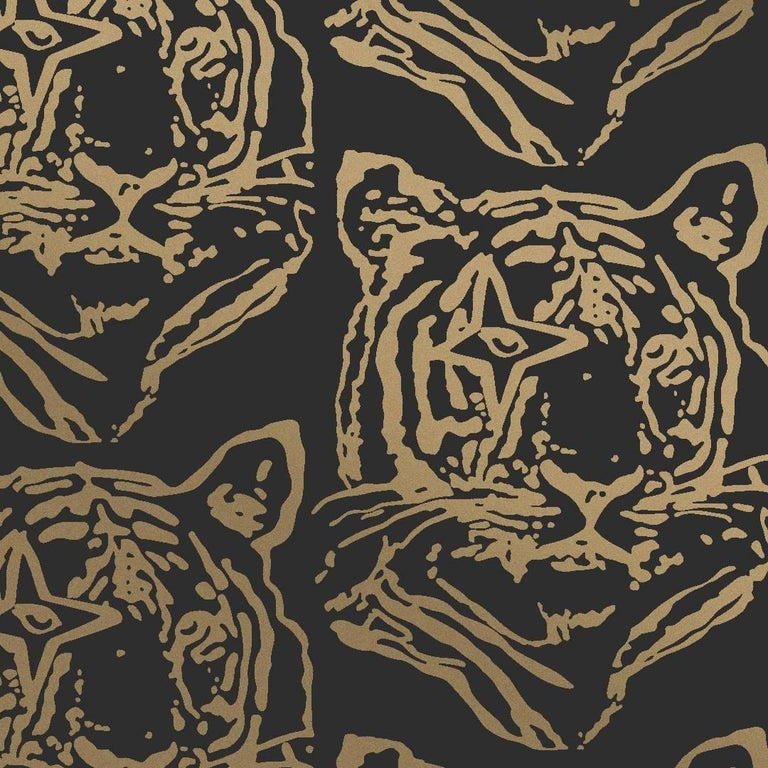 Star Tiger Designer Wallpaper In Color Eclipse Metallic Gold On
