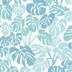 Deliciosa Designer Wallpaper in Powder 'Blues, Turquoise and White'