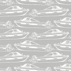 Boating Designer Wallpaper in Dolphin 'White on Grey'