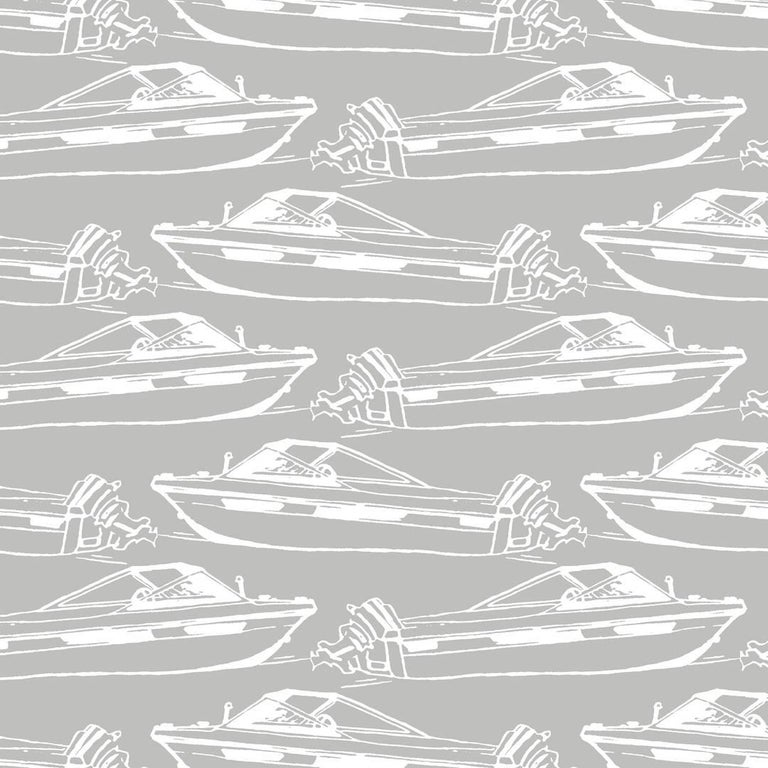 Boating Designer Wallpaper in Dolphin 'White on Grey' For Sale