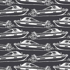 Boating Screen Printed Wallpaper in Pebble 'White on Black'