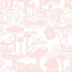 Mushroom City Designer Wallpaper in Daisy 'Pink and White'