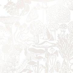 Mushroom City Designer Wallpaper in Mist 'Pearlescent on Soft White'