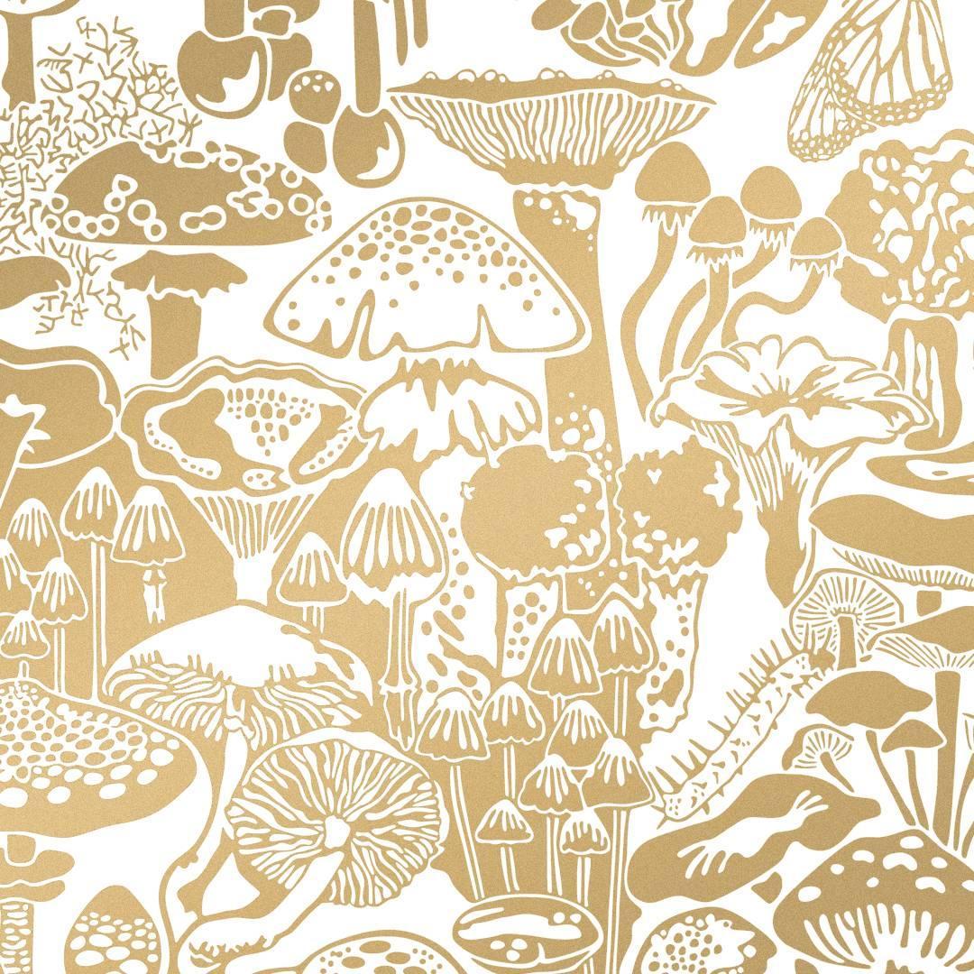 Mushroom City Designer Wallpaper in Color Sphinx \'Metallic Gold on ...