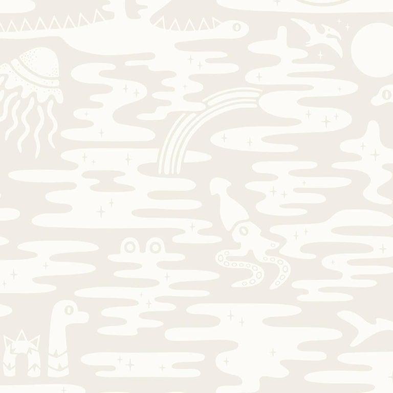 Mystic Lagoon Designer Wallpaper In Color Parchment Soft White On