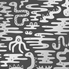 Mystic Lagoon Designer Wallpaper in Color Thunder 'Metallic Silver on Charcoal'