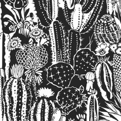 Cactus Spirit Screen Printed Wallpaper in Color Contrast 'White on Black'