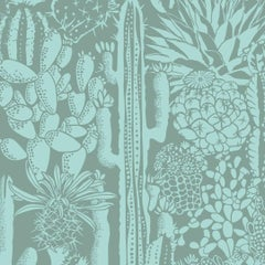Cactus Spirit Designer Wallpaper in Sage 'Mint and Frost Green'