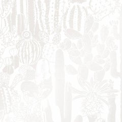 Cactus Spirit Designer Wallpaper in Mist 'Pearlescent on White'