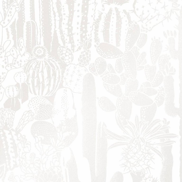 Swell Screen Printed Wallpaper In Color Coconuts Neutrals On Soft White For Sale At 1stdibs