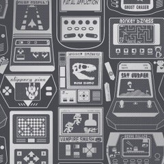 Gameland Designer Wallpaper in Thunder 'Metallic Silver on Charcoal'