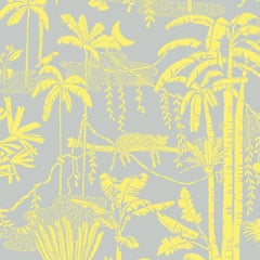 Jungle Dream Designer Screen Printed Wallpaper in Zest 'Yellow and Grey'