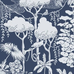 Jungle Dream Designer Wallpaper in Lune 'Pale Grey and Navy'
