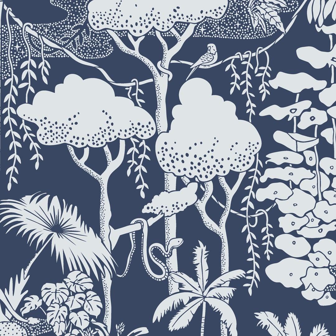 Jungle Dream Designer Wallpaper in Lune 'Pale Grey and Navy'