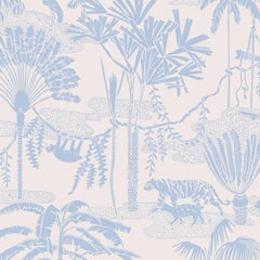 Jungle Dream Designer Screen Printed Wallpaper in Lily 'Greyish-Blue on Blush'