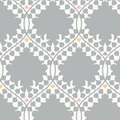 Leaf Damask Designer Wallpaper in Classic 'Grey, Pink, Orange and Soft White'