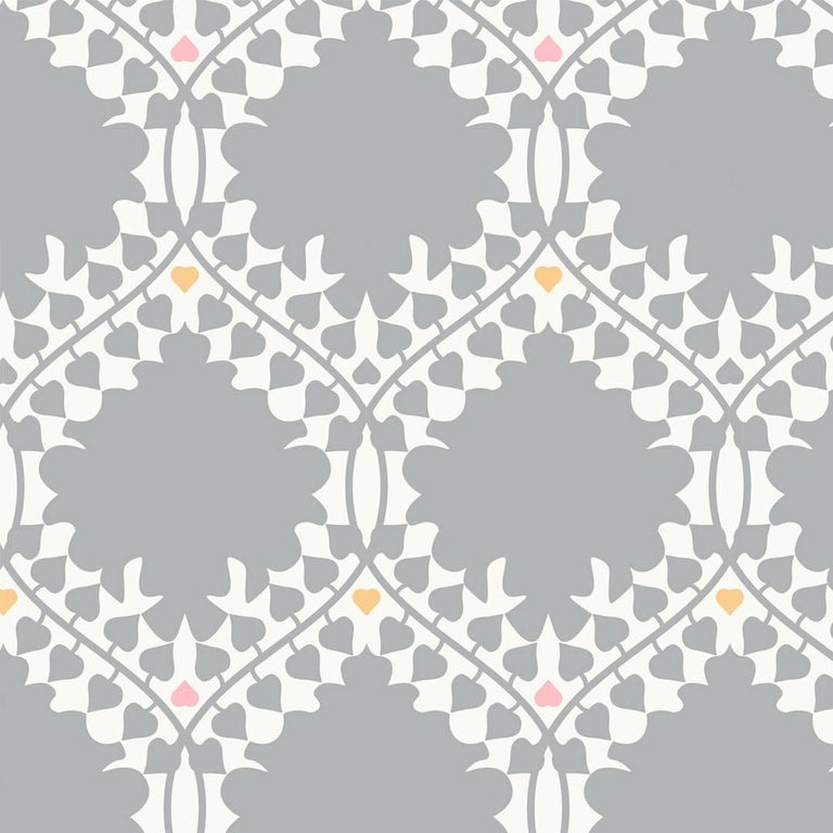 Leaf Damask Screen Printed Wallpaper In Classic Grey Pink Orange On Soft White