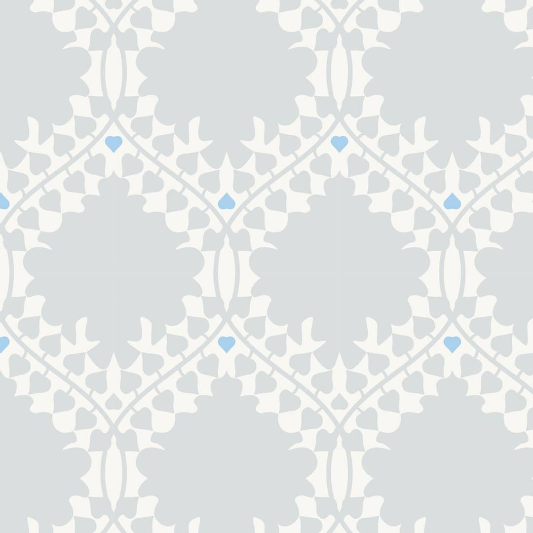 Leaf Damask Designer Wallpaper in Snow 'Grey, Blue and Soft White'