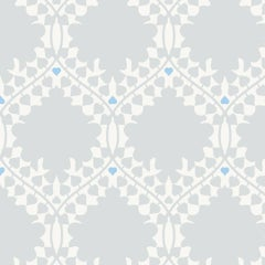 Leaf Damask Designer Wallpaper in Snow 'Grey, Blue and Soft White'