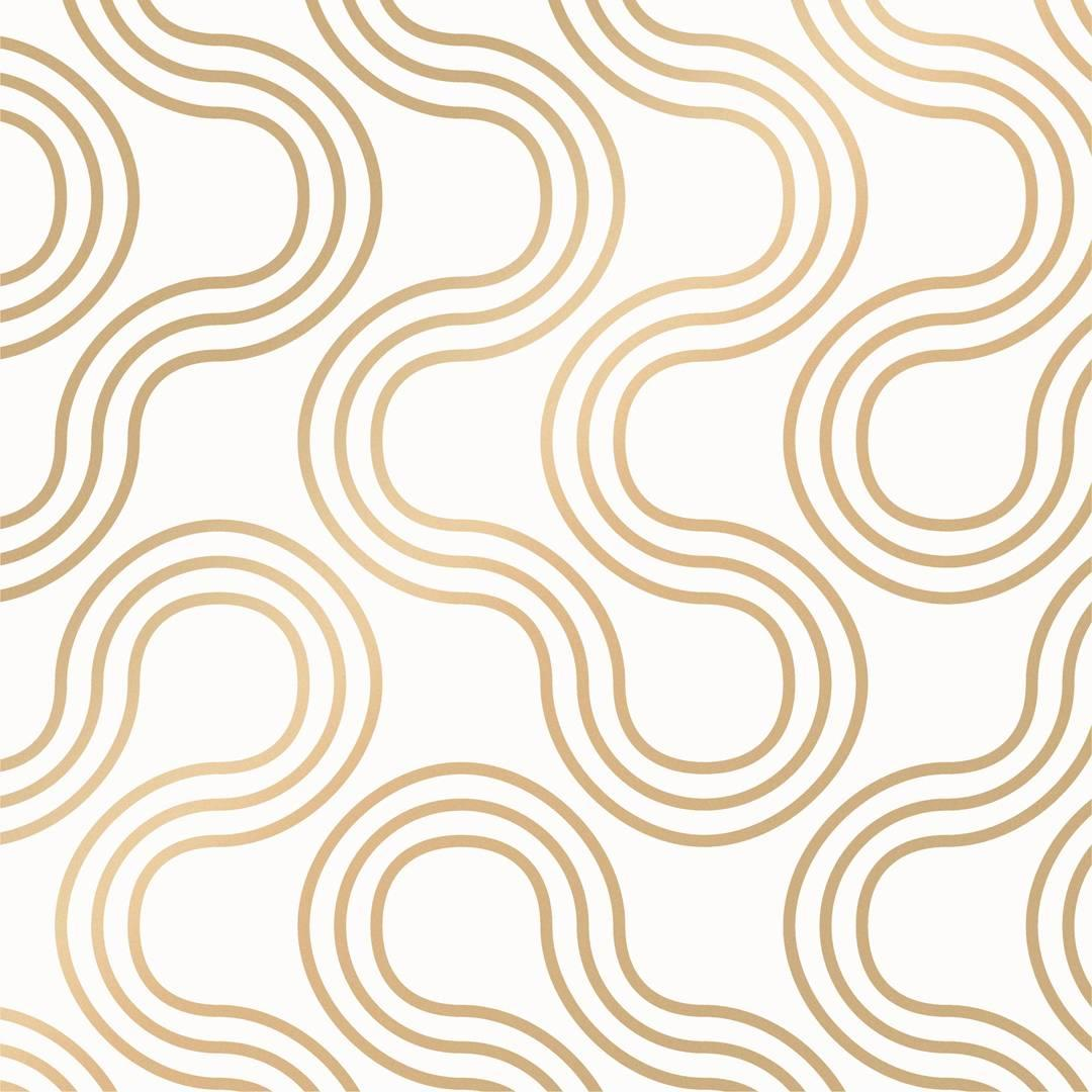 Mamma Designer Wallpaper in Sphinx 'Metallic Gold on Soft White'