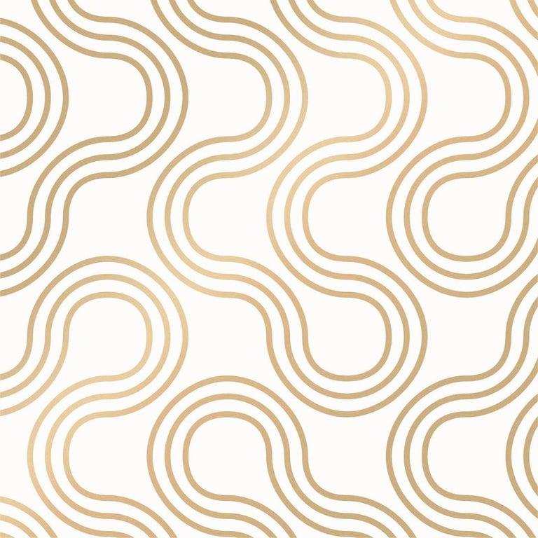 Mamma Designer Wallpaper in Sphinx 'Metallic Gold on Soft White' For Sale