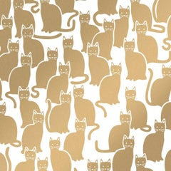 Shadowcat Screen Printed Wallpaper in Color Sphinx 'Metallic Gold on Soft White'