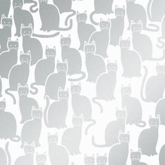 Shadowcat Screen Printed Wallpaper in Glimmer 'Metallic Silver on Soft White'