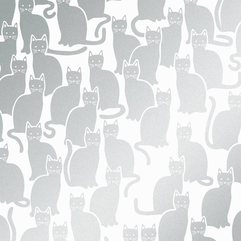 Shadowcat Screen Printed Wallpaper In Glimmer Metallic Silver On Soft White