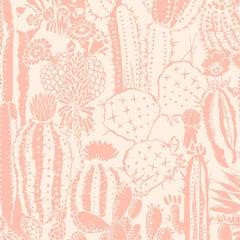 Cactus Spirit Screen Printed Wallpaper in Color Splendid 'Salmon Pink on Blush'