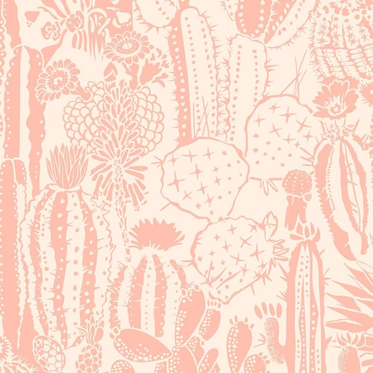 spelndid popular wallpaper designs. Cactus Spirit Screen Printed Wallpaper in Color Splendid  Salmon Pink on Blush