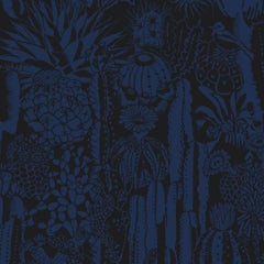 Cactus Spirit Screen Printed Wallpaper in Color Cloak 'Indigo on Black'