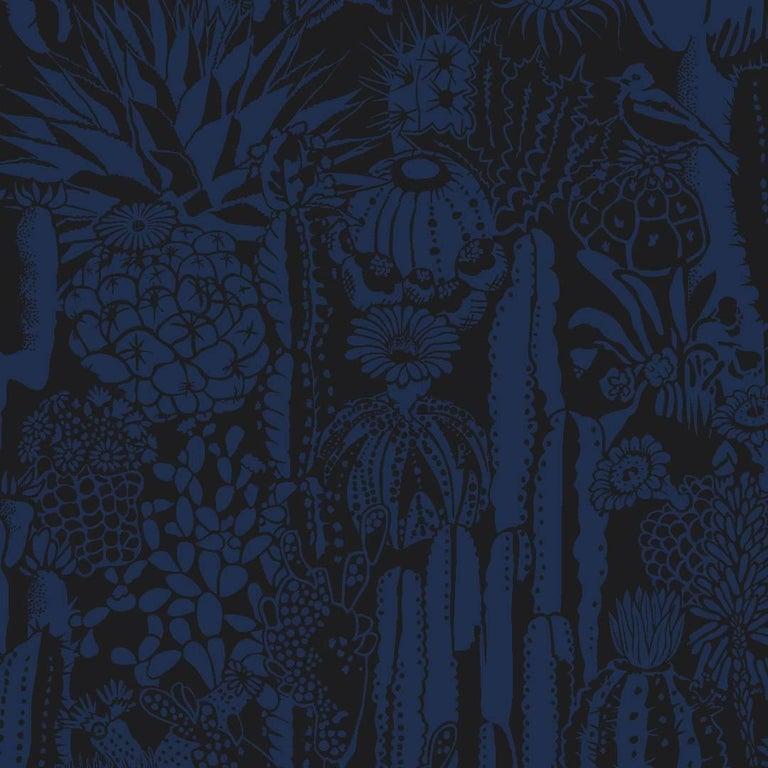 Cactus Spirit Screen Printed Wallpaper in Color Cloak 'Indigo on Black'