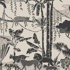 Jungle Dream Designer Wallpaper in Color Newsprint 'Black and Warm Neutral'