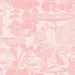 Mushroom City Designer Wallpaper In Color Eraser Pink On Blush