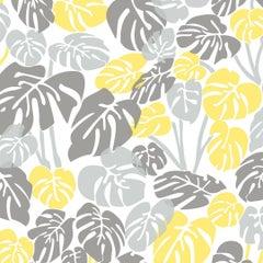 Deliciosa Designer Wallpaper in Color Lemonade 'Greys and Yellow on Soft White'