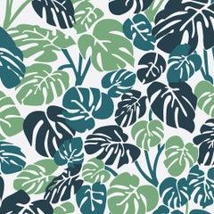 Deliciosa Designer Wallpaper in Rainforest 'Green, Teal & Navy on Pale Grey'
