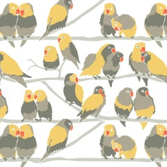 Lovebirds Designer Wallpaper 'Yellow, Grey, Taupe, Orange and Pale Grey'