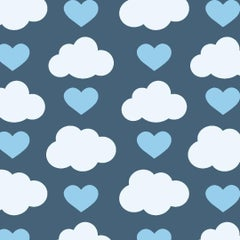 Loveclouds Designer Wallpaper in Prep 'Blue, White and China Blue'