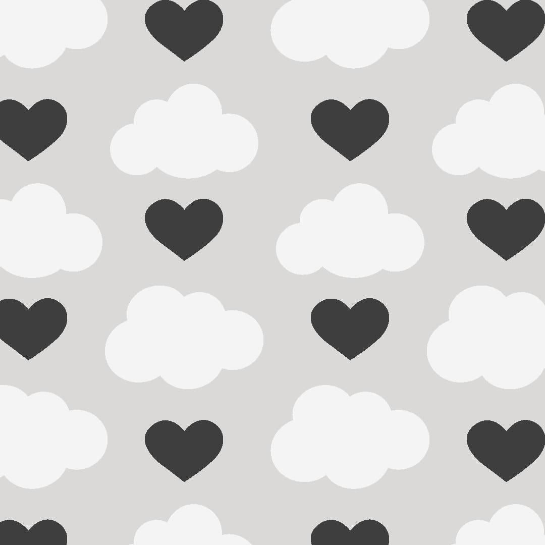 Loveclouds Designer Wallpaper in Rebel 'Black, White and Grey'