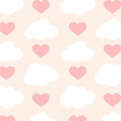 Loveclouds Screen Printed Wallpaper in Color Amor 'Pink & White on Blush'