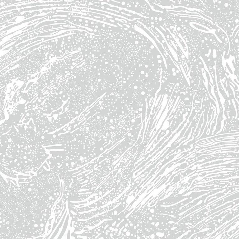 Cosmic Splash Designer Wallpaper In Color Luna Soft White On Pale Grey