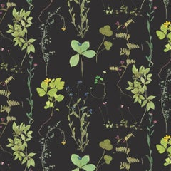 Herbario Designer Wallpaper in Color Botanical 'Multi-Color Greens on Black'