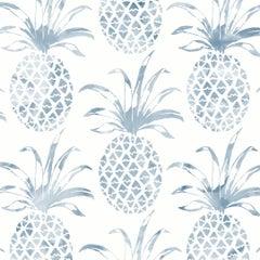 Piña Pintada Pigment Printed Wallpaper in Color Quay 'Blue-Grey on White'