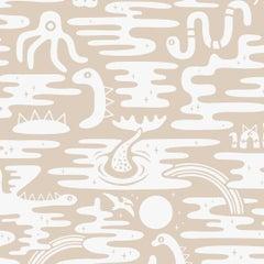 Mystic Lagoon Designer Wallpaper in Color Desert 'Soft White on Oatmeal'