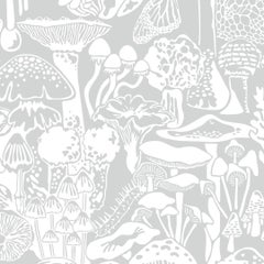 Mushroom City Designer Wallpaper in Color Heather 'Soft White on Grey'