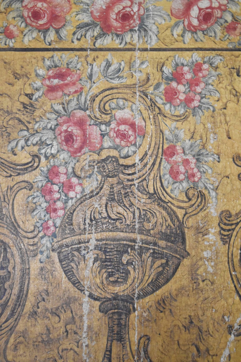 Hand-Painted 18th Century Barroque Oil on Canvas Wall Decoration For Sale