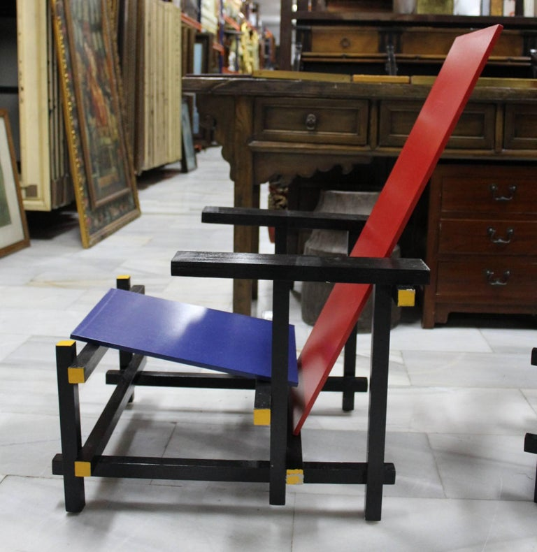 Pair of Gerrit Thomas Rietveld Red Blue Chair Replicas For Sale 1