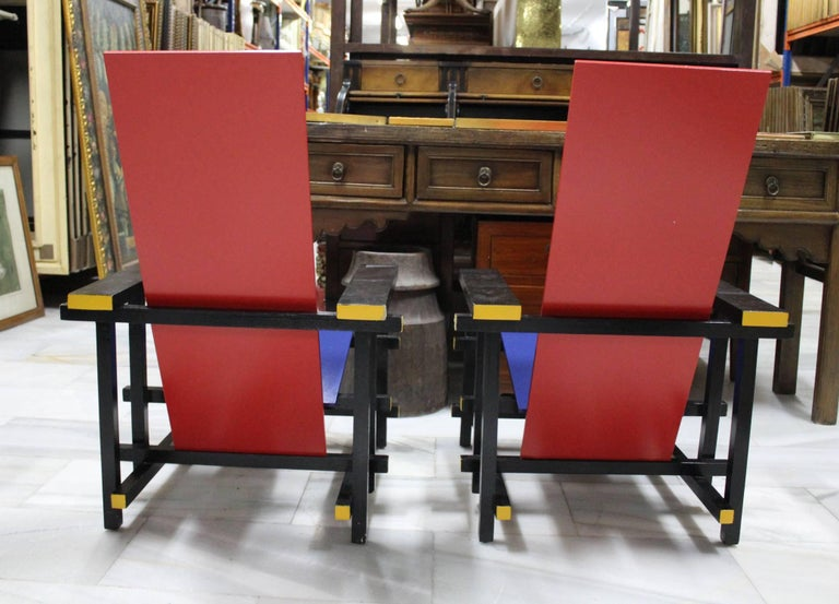Hand-Painted Pair of Gerrit Thomas Rietveld Red Blue Chair Replicas For Sale