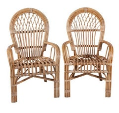 1980s Pair of Spanish Bamboo Armchairs with Rounded Back Rest