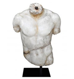 Classical Roman Torso in Resin Imitating Marble on Iron Pedestal